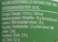 Crème Fraîche Fleurette - Informations nutritionnelles
