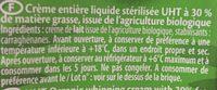 Crème entière fluide - Ingredienti - fr