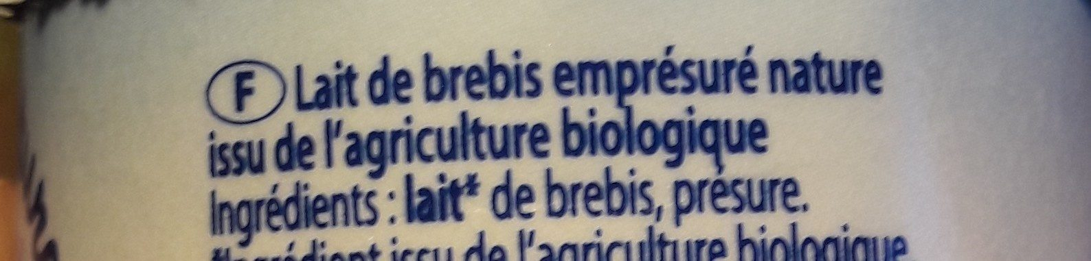 Caillé au lait de brebis Bio nature - Ingredients