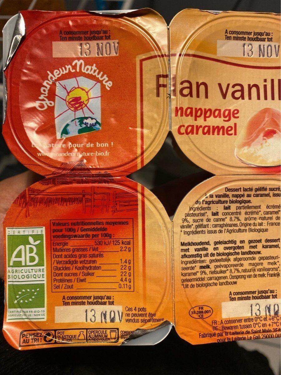 FLAN VANILLE NAPPE CARAMEL - Informations nutritionnelles - fr