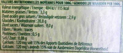 Dessert 100% végétal au riz café - Informations nutritionnelles