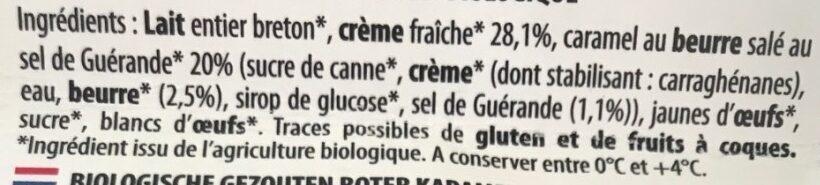 Crème Caramel Beurre Salé - Ingrédients - fr