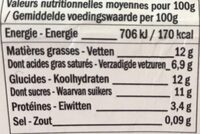 Crème Caramel Beurre Salé - Informations nutritionnelles - fr