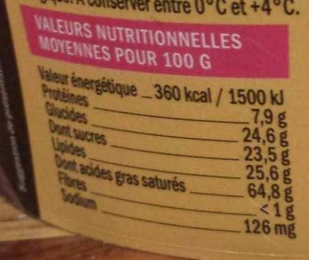Mousse au chocolat noir - Nutrition facts - fr