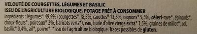 Veloutés courgettes et basilic - Ingredientes - fr