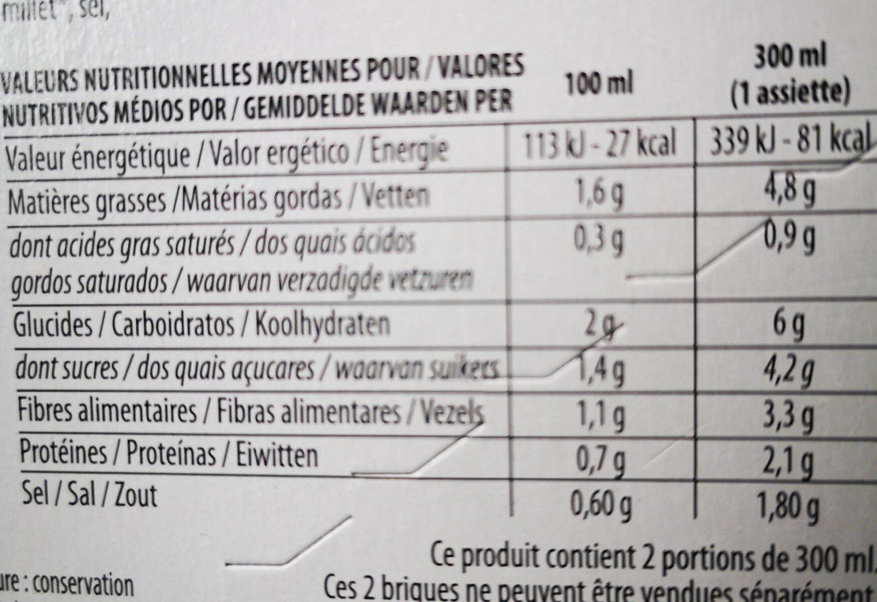 Veloutés courgettes et basilic - Información nutricional - fr