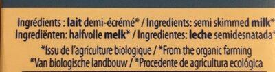 Lait bio demi écrémé - Ingredients