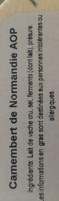 Camembert de Normandie AOP - Ingrédients