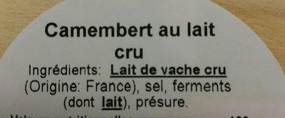 Camenbert - Ingrédients
