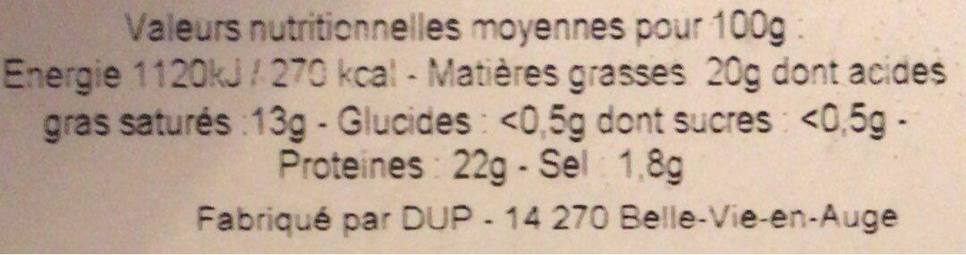 Camembert de Normandie - Informations nutritionnelles - fr