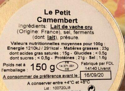 Petit camembert au lait cru - Voedingswaarden - fr