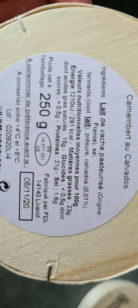 Camembert au Calvados - Informations nutritionnelles - fr