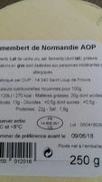 Camembert de Normandie Lait cru - Ingredients - fr