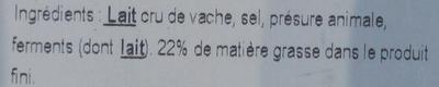 Camembert de Normandie au lait cru (22 % MG) - Ingredients
