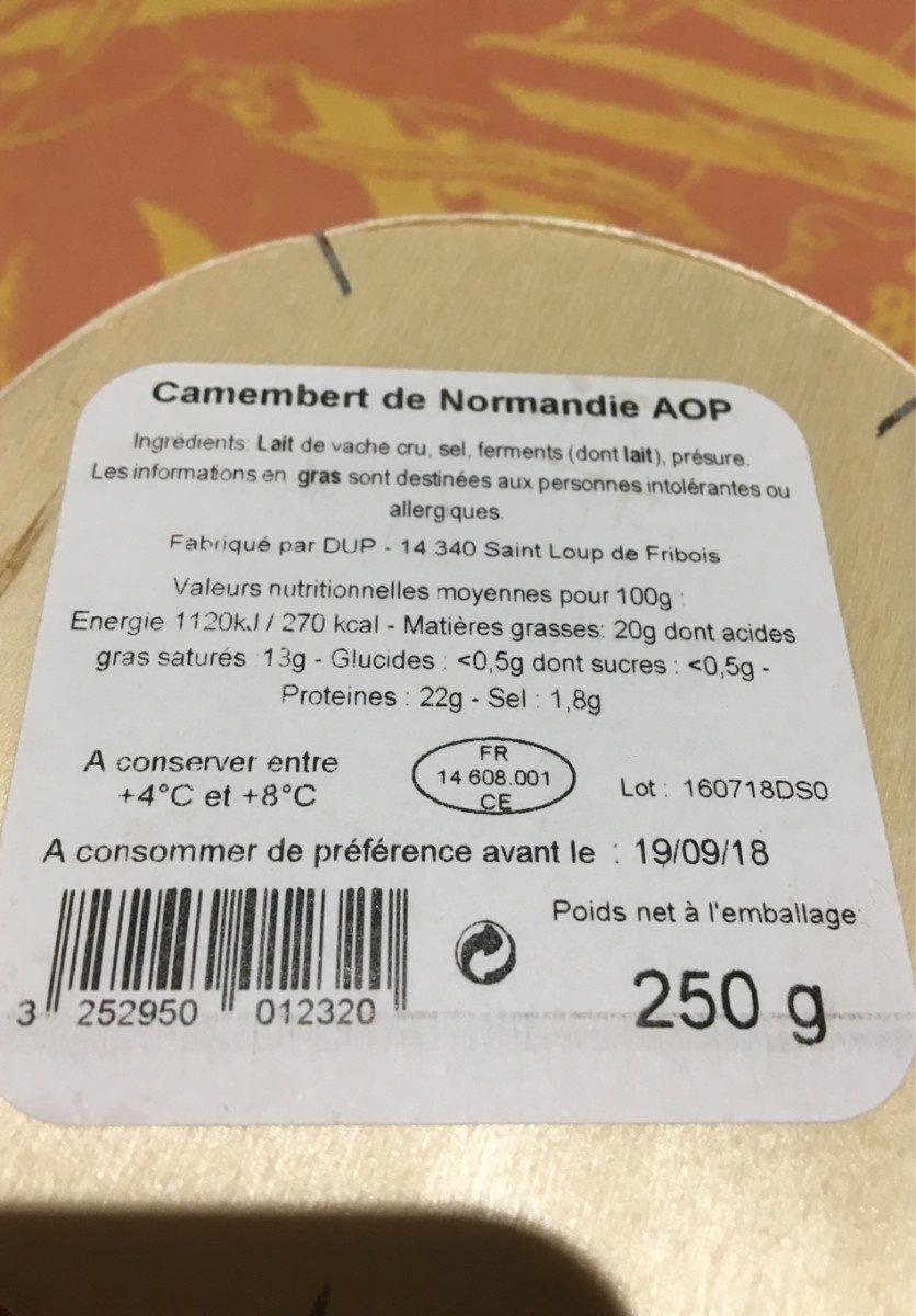Camenbert de normandie - Ingrédients - fr