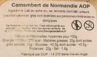 Camenbert de normandie - Informations nutritionnelles - fr