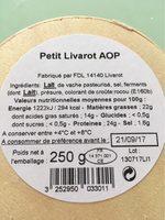 Petit Livarot AOP Graindorge - Nutrition facts