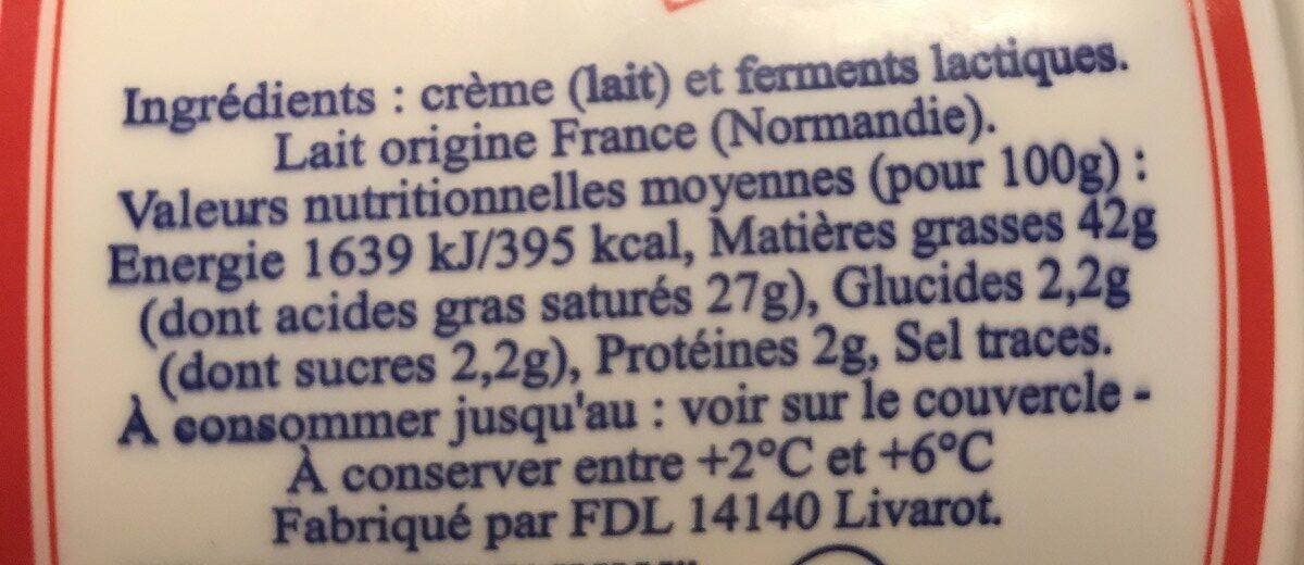Crème Fraîche Épaisse de Normandie (42 % MG) - Ingrédients