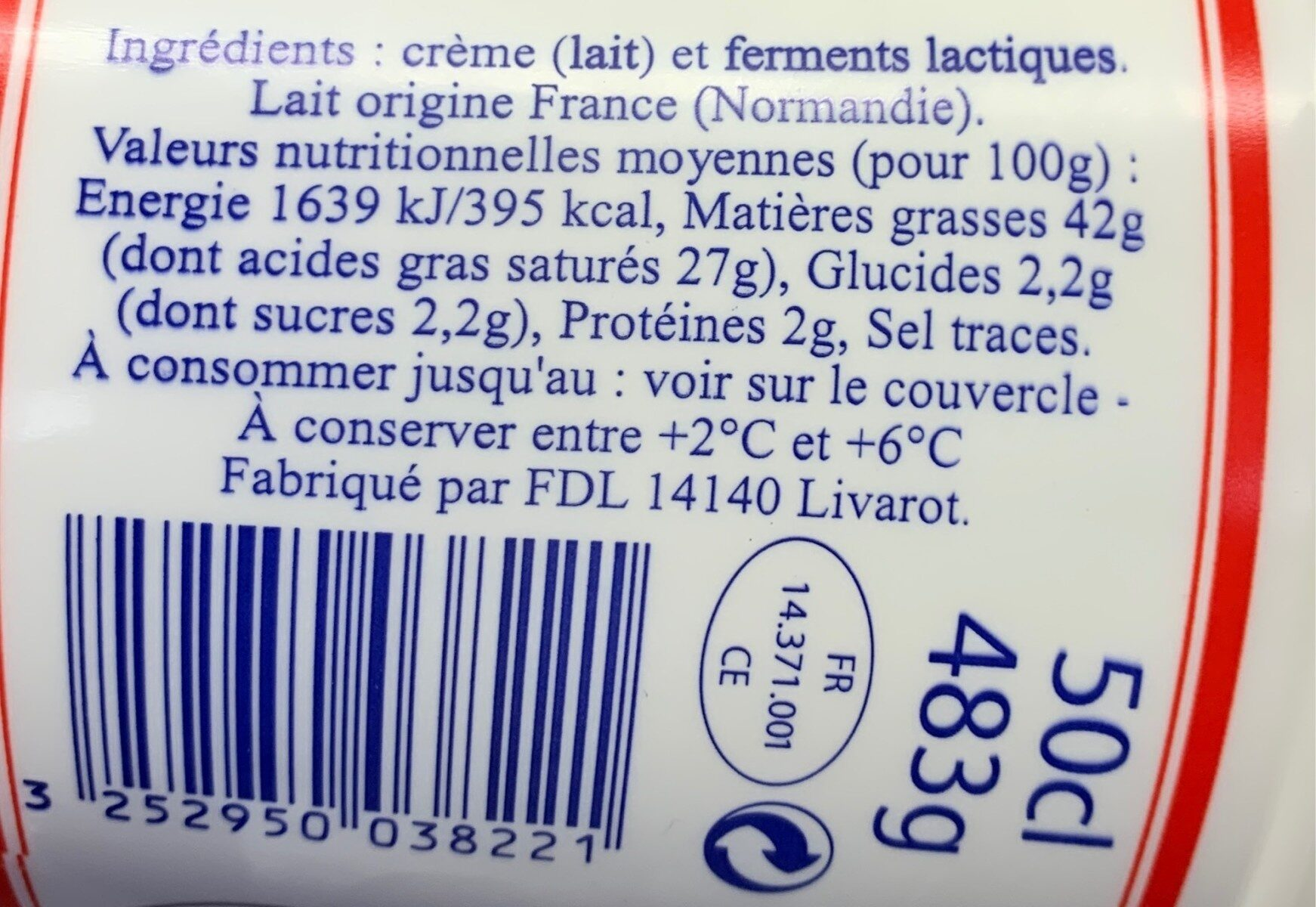 Crème Fraîche Épaisse de Normandie (42 % MG) - Informations nutritionnelles - fr