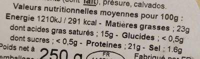 Camembert au calvados, 20%MG - Nutrition facts