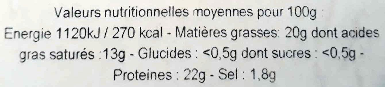 Camembert de Normandie au lait cru (23% MG) - Nutrition facts