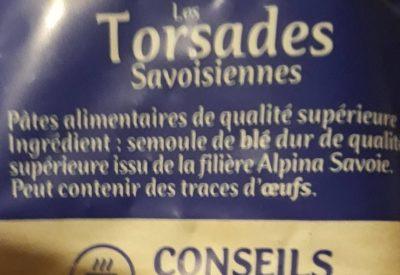Pâtes torsades Alpina Savoie - Ingredients
