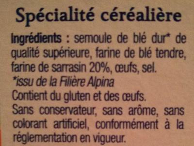 Les Crozets au Sarrasin - Ingrédients - fr