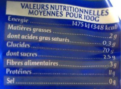Perles Bio - Informations nutritionnelles