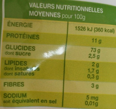 Nouilles Savoisiennes Bio - Informations nutritionnelles