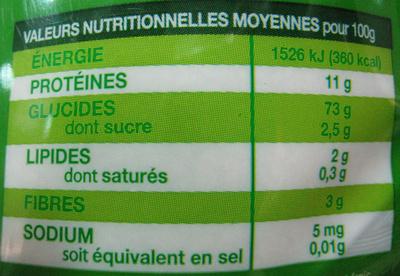 Couscous Bio - Informations nutritionnelles