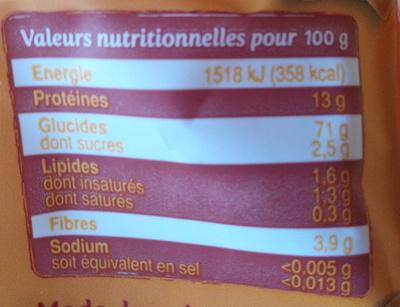 """""""Pâtes"""" à poêler, les tressines - Informations nutritionnelles"""