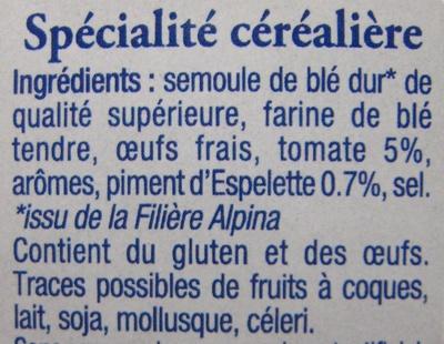 Les Crozets, Tomate / Piment d'Espelette - Ingrédients
