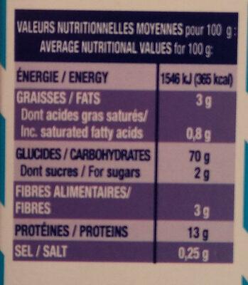 Crozets nature - Informations nutritionnelles