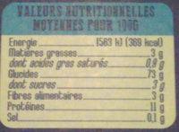 Crozets blancs - Valori nutrizionali - fr