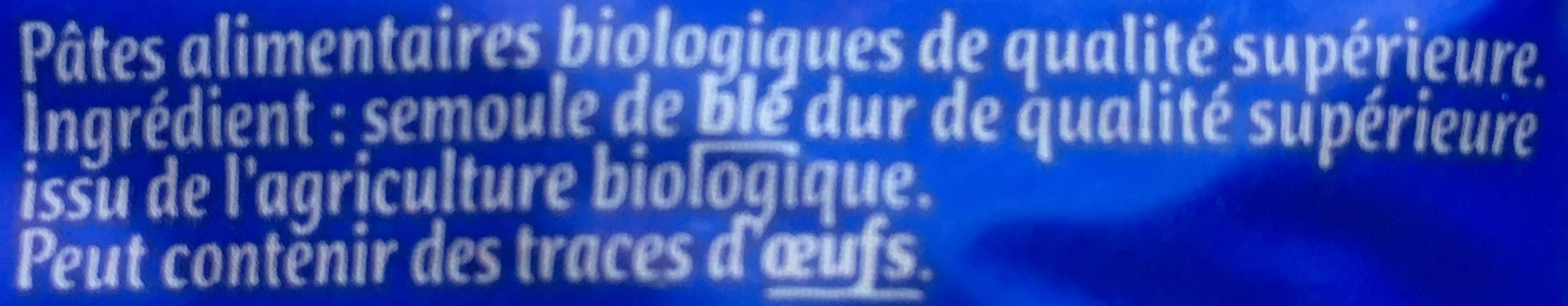 Coquillettes Bio - Etui 500G - Ingrédients - fr