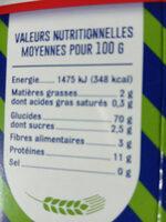 Coquillettes Bio - Etui 500G - Informations nutritionnelles - fr