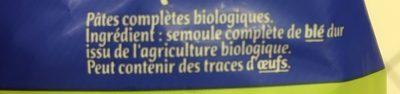 Les Coquillettes Blé Complet - Ingrédients - fr