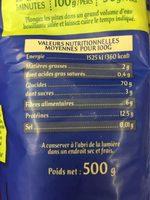 Les Coquillettes Blé Complet - Informations nutritionnelles - fr