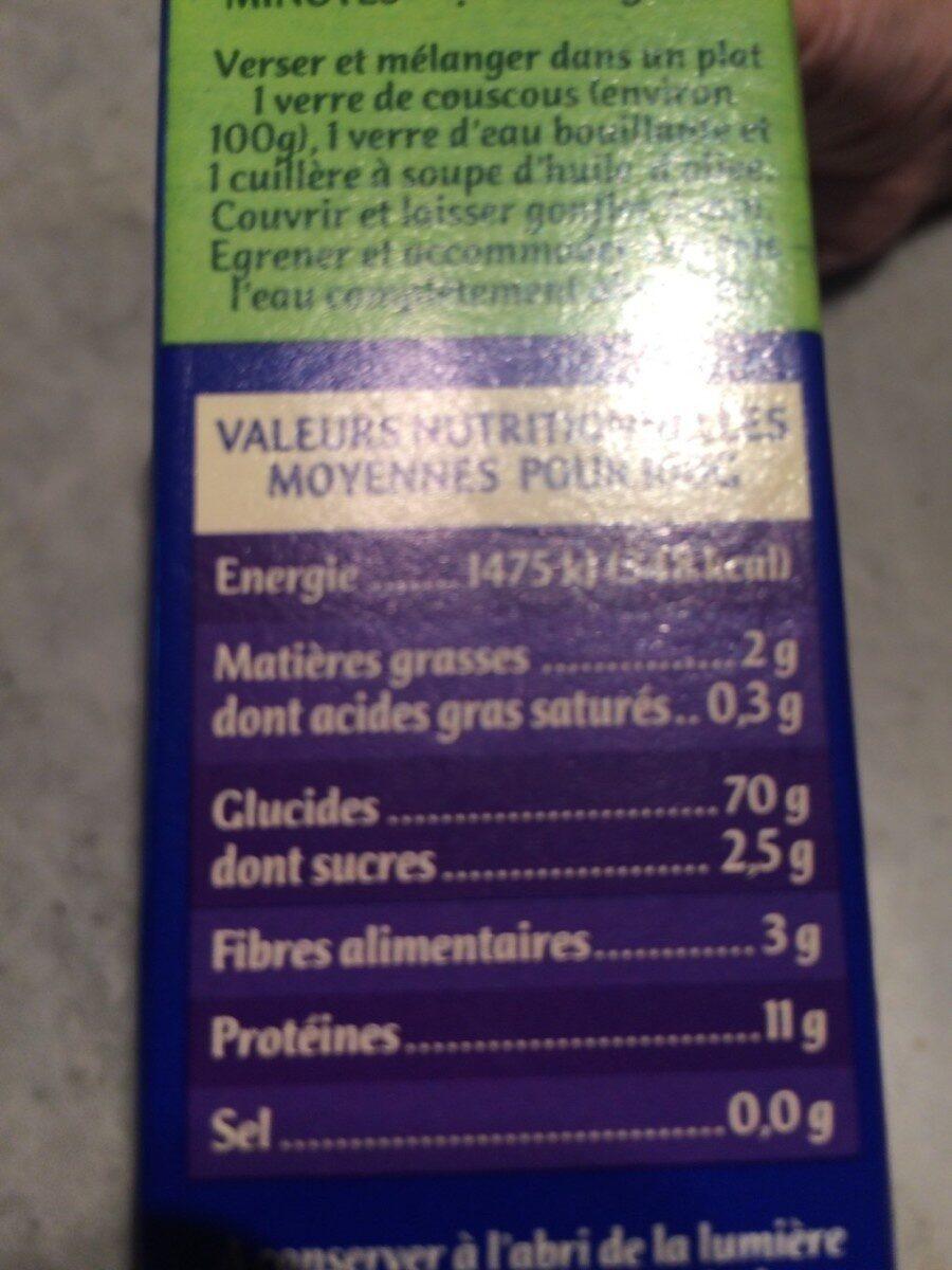 Coucous Blanc Bio de France - Informations nutritionnelles - fr