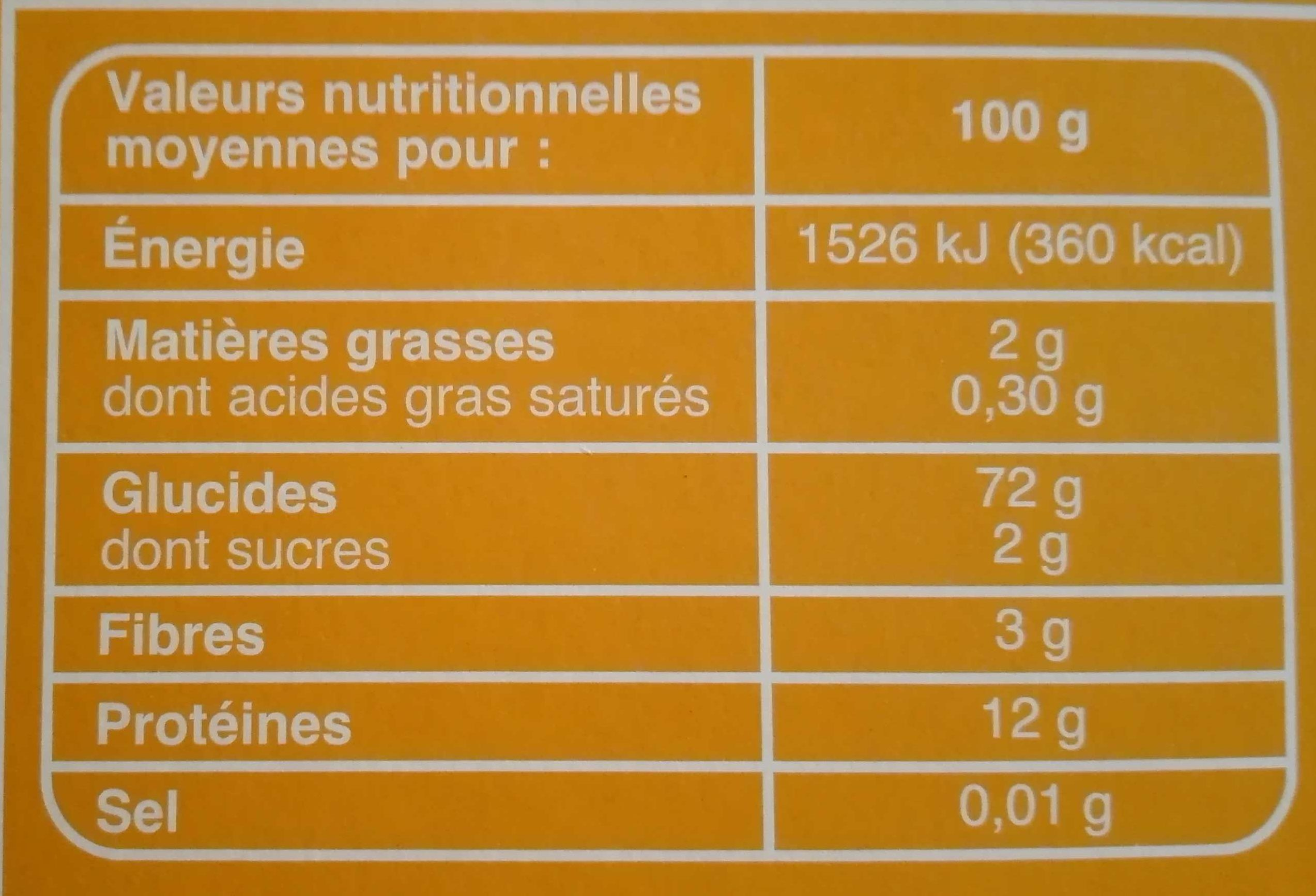 Coquillettes - Informations nutritionnelles - fr