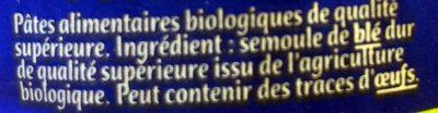 Vermicelles Bio - Ingrédients