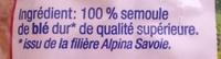 Pâtes de Savoie, Frisettes - Ingrédients