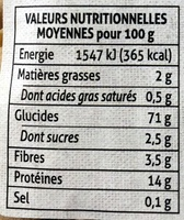 trompettes aux chanterelles - Informations nutritionnelles - fr