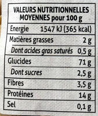trompettes aux chanterelles - Informations nutritionnelles