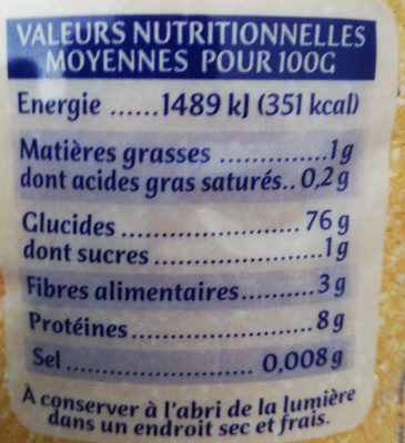 Polenta Tradition Moyenne - Informations nutritionnelles - fr