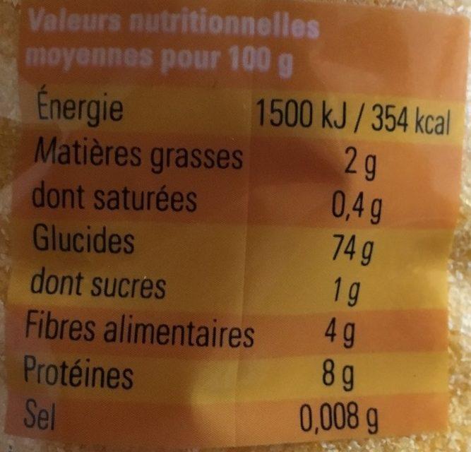 Polenta - Informations nutritionnelles - fr