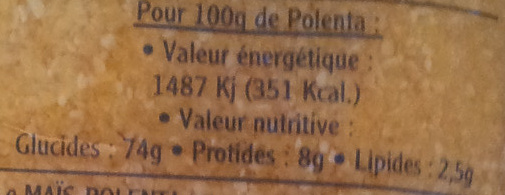 Polenta express - Moyenne - Informations nutritionnelles