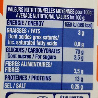 Les Crozets au Sarrasin - Informations nutritionnelles - fr