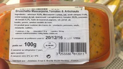 Bruschetta mascarpone tomates artichauts - Ingredients