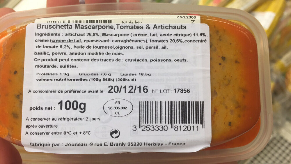 Bruschetta mascarpone tomates artichauts - Ingredienti - fr
